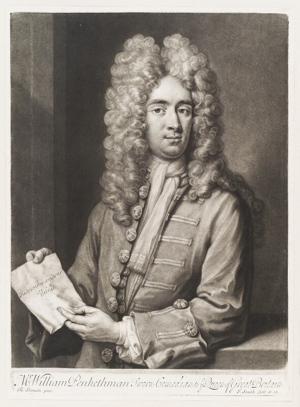 William Pinkethman, by and published by John Smith, after  Johann Rudolph Schmutz, 1709 - NPG D11508 - © National Portrait Gallery, London