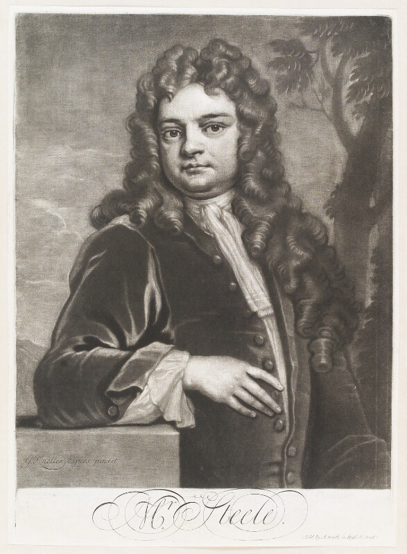Sir Richard Steele, by John Simon, sold by  John Smith, after  Sir Godfrey Kneller, Bt, 1712-1713 (1711) - NPG D11511 - © National Portrait Gallery, London