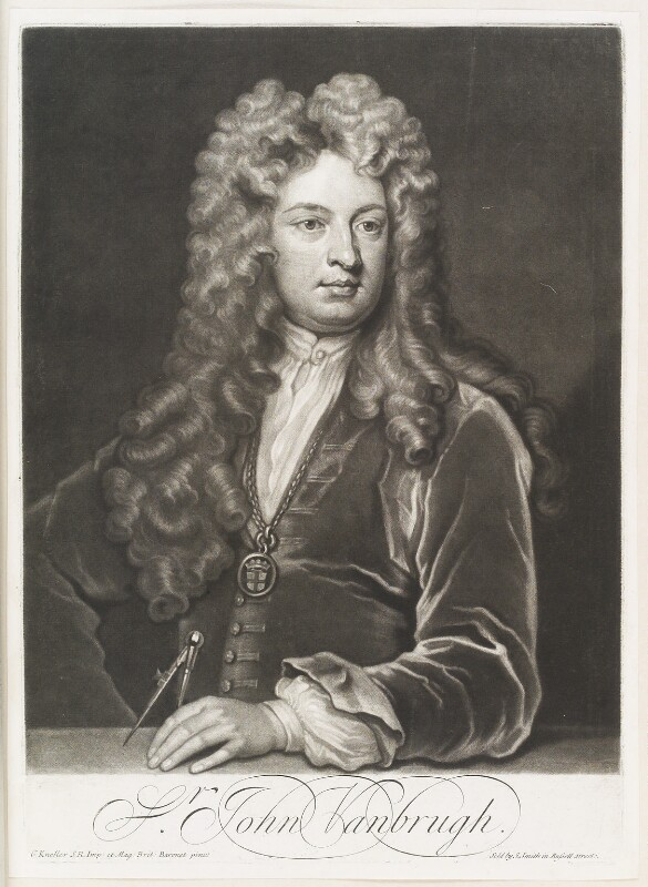 Sir John Vanbrugh, by John Simon, published by  John Smith, after  Sir Godfrey Kneller, Bt, circa 1715 - NPG D11513 - © National Portrait Gallery, London