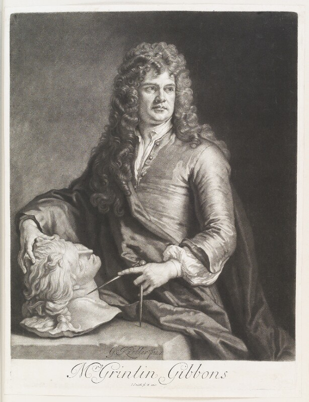 Grinling Gibbons, by and published by John Smith, after  Sir Godfrey Kneller, Bt, 1690 - NPG D11514 - © National Portrait Gallery, London