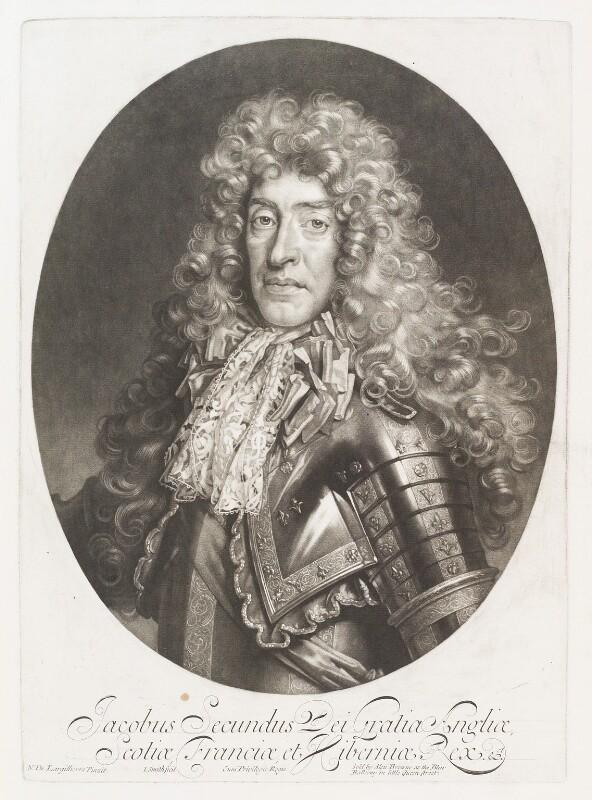 King James II, by John Smith, published by  Alexander Browne, after  Nicolas de Largillière, 1686 - NPG D11522 - © National Portrait Gallery, London