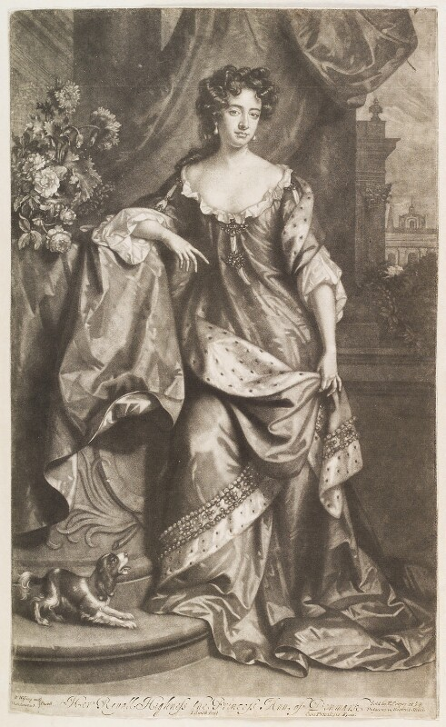 Queen Anne when Princess of Denmark, by John Smith, published by  Edward Cooper, after  Willem Wissing, after  Jan van der Vaart, 1687 - NPG D11529 - © National Portrait Gallery, London