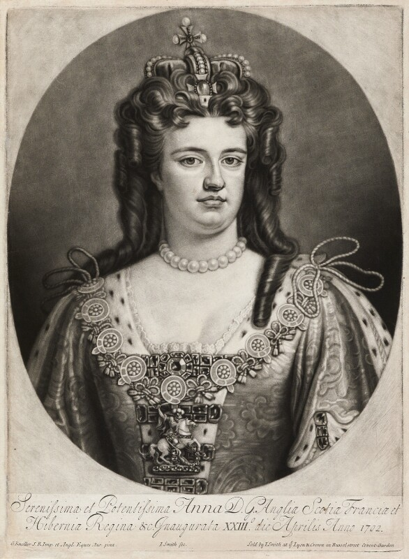 Queen Anne, by and published by John Smith, after  Sir Godfrey Kneller, Bt, 1706 (1703) - NPG D11532 - © National Portrait Gallery, London