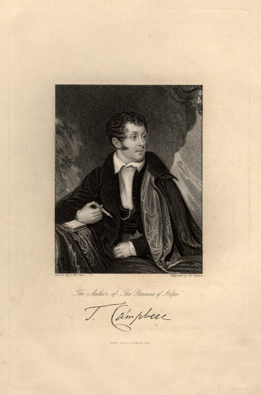 Thomas Campbell, by Joseph John Jenkins, published by  Fisher Son & Co, after  Daniel Maclise, published 1844 - NPG D12230 - © National Portrait Gallery, London