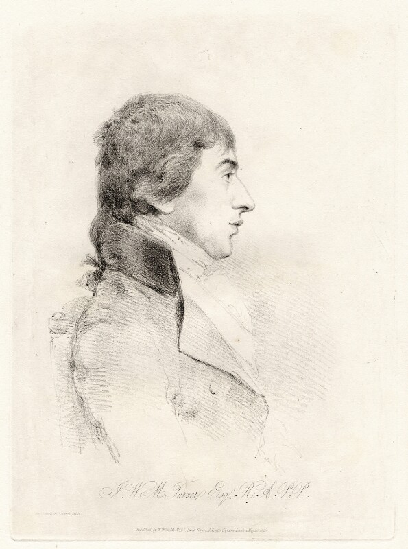 J.M.W. Turner, by William Daniell, after  George Dance, published 10 May 1827 (31 March 1800) - NPG D12108 - © National Portrait Gallery, London