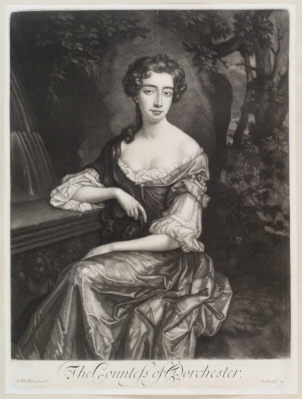 Catherine Sedley, Countess of Dorchester, by Isaac Beckett, published by  John Smith, after  Sir Godfrey Kneller, Bt, (1687) - NPG D11605 - © National Portrait Gallery, London