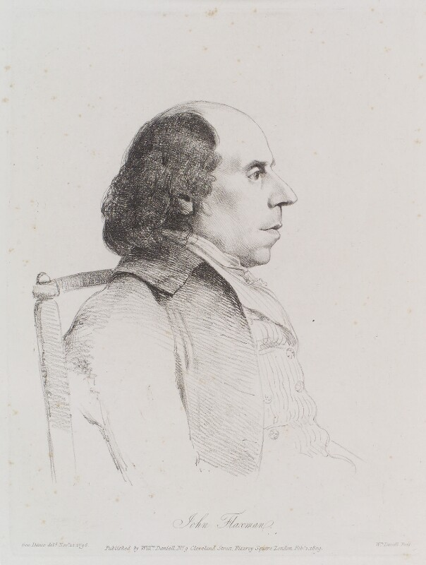 John Flaxman, by William Daniell, after  George Dance, published 1 February 1809 (12 November 1796) - NPG D12123 - © National Portrait Gallery, London