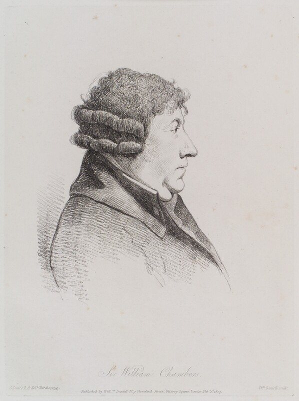 Sir William Chambers, by William Daniell, after  George Dance, published 1 February 1809 (17 March 1793) - NPG D12124 - © National Portrait Gallery, London