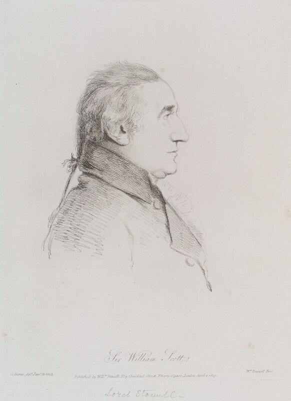 William Scott, Baron Stowell, by William Daniell, after  George Dance, published 1 April 1809 (18 January 1803) - NPG D12128 - © National Portrait Gallery, London