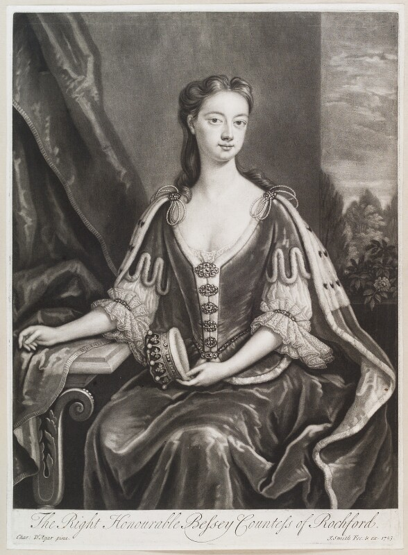 Bessey Nassau van Zuylestein (née Savage), Countess of Rochford, by and published by John Smith, after  Charles D'Agar, 1723 - NPG D11613 - © National Portrait Gallery, London