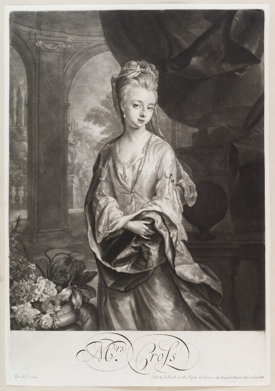 Mrs Cross, by and published by John Smith, after  Thomas Hill, 1700 - NPG D11614 - © National Portrait Gallery, London