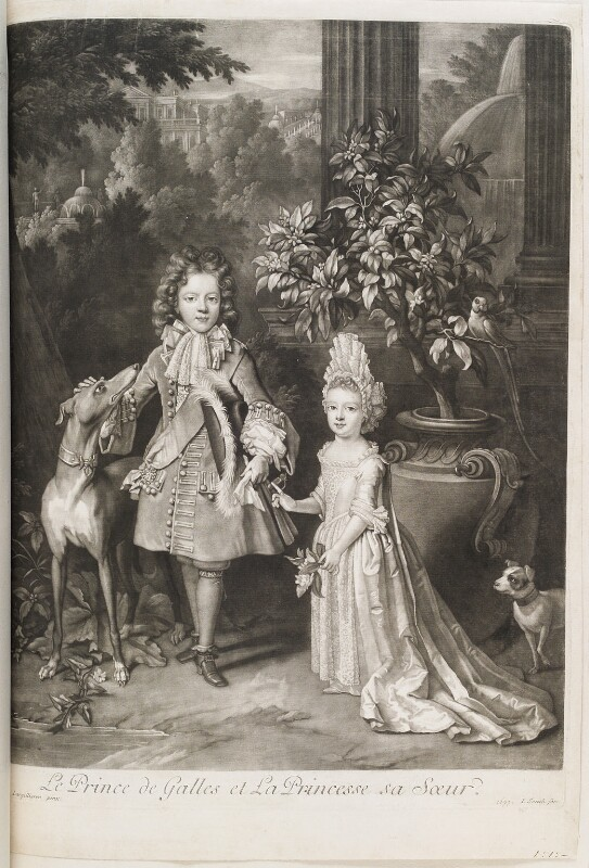 Prince James Francis Edward Stuart; Princess Louisa Maria Theresa Stuart, by and published by John Smith, after  Nicolas de Largillière, 1699 (1695) - NPG D11539 - © National Portrait Gallery, London