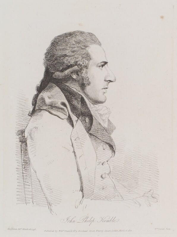 John Philip Kemble, by William Daniell, after  George Dance, published 15 March 1810 (16 March 1795) - NPG D12151 - © National Portrait Gallery, London