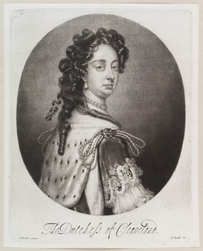 Barbara Palmer (née Villiers), Duchess of Cleveland, by Isaac Beckett, published by  John Smith, after  Sir Godfrey Kneller, Bt, circa 1681-1688 - NPG D11617 - © National Portrait Gallery, London