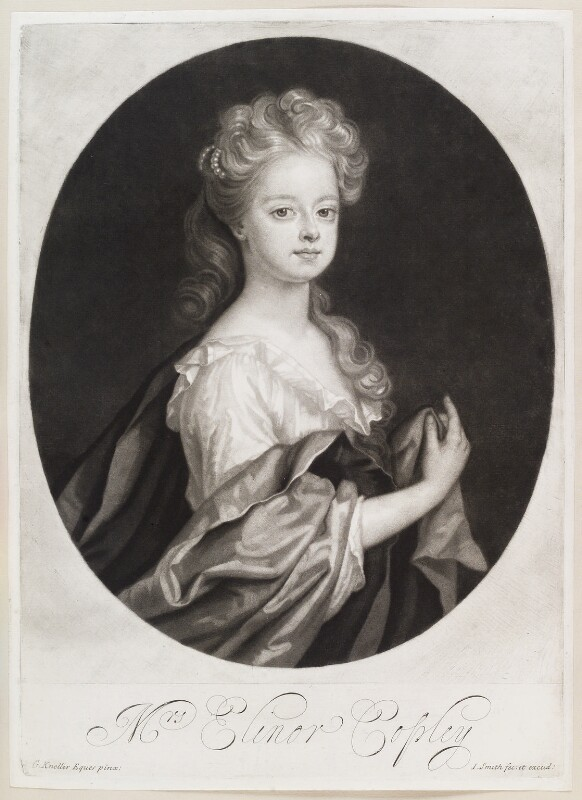 Elinor (Eleanor) Copley, by and published by John Smith, after  Sir Godfrey Kneller, Bt, 1694 - NPG D11620 - © National Portrait Gallery, London