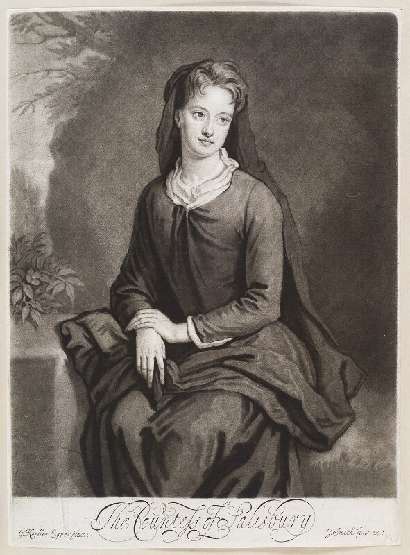 Frances Cecil (née Bennett), Countess of Salisbury, by and published by John Smith, after  Sir Godfrey Kneller, Bt, 1696 (1695) - NPG D11625 - © National Portrait Gallery, London