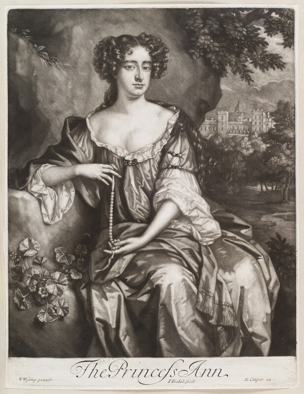 Queen Anne when Princess of Denmark, by Isaac Beckett, published by  Edward Cooper, after  Willem Wissing, 1683-1688 - NPG D11627 - © National Portrait Gallery, London