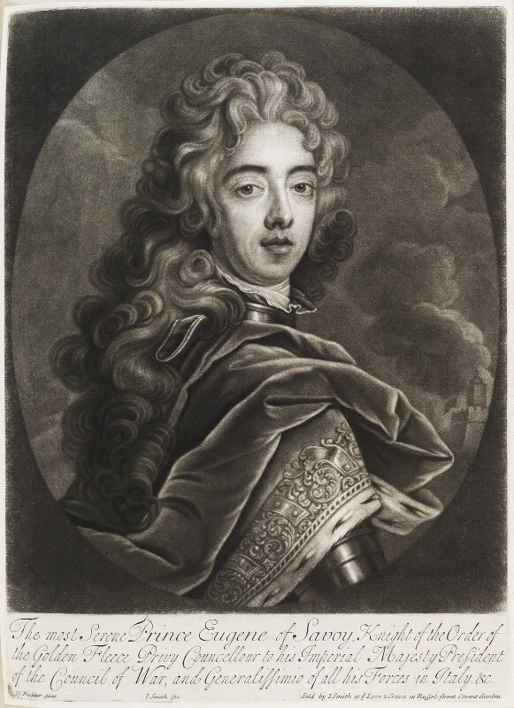Prince Eugène of Savoy, by and published by John Smith, after  David Richter I, 1706 - NPG D11547 - © National Portrait Gallery, London