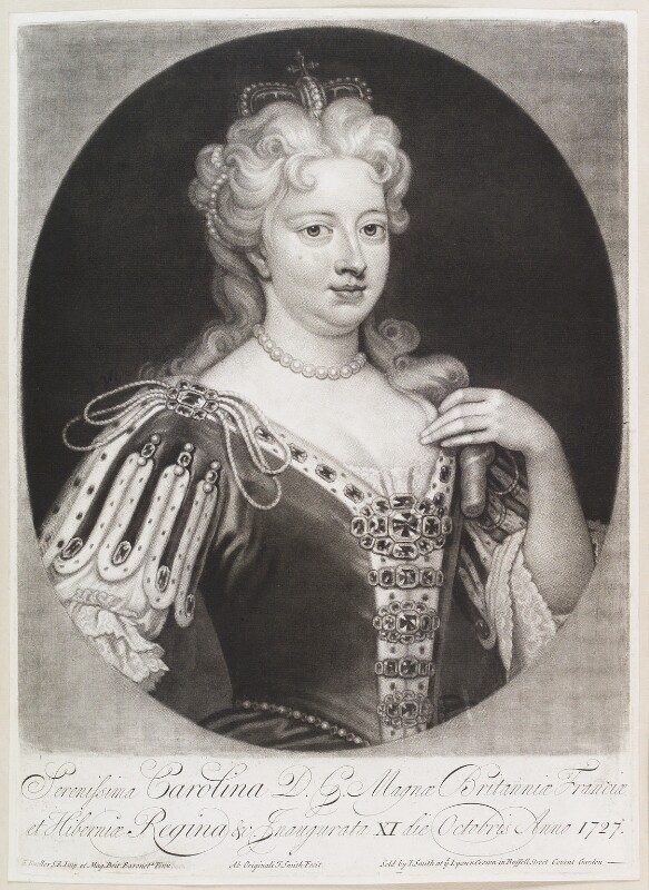 Caroline Wilhelmina of Brandenburg-Ansbach when Queen Caroline, by and published by John Smith, after  Sir Godfrey Kneller, Bt, 1717-1727 - NPG D11642 - © National Portrait Gallery, London