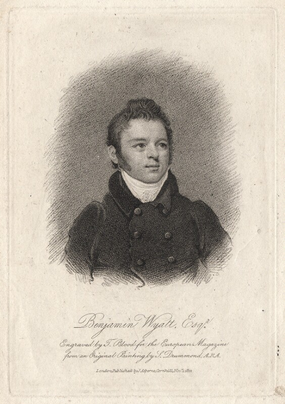 Benjamin Dean Wyatt, by Thomas Blood, published by  James Asperne, after  Samuel Drummond, published 1812 - NPG D8834 - © National Portrait Gallery, London