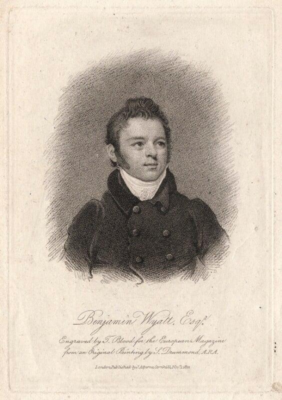 Benjamin Dean Wyatt, by Thomas Blood, published by  James Asperne, after  Samuel Drummond, published 1812 - NPG D8834 - © National Portrait Gallery, London