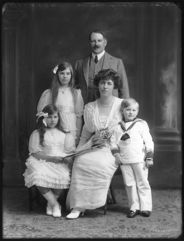 Renée Williams-Bulkeley; Dorina Parsons; Sir Thomas Neave, 5th Bt; Lady Dorina Neave; Sir Arundell Neave, 6th Bt, by Bassano Ltd, 18 June 1920 - NPG x78744 - © National Portrait Gallery, London