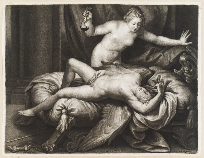 Cupid and Psyche, by Isaac Beckett, published by  John Smith, after  Alessandro Turchi, circa 1680-4 - NPG D11729 - © National Portrait Gallery, London
