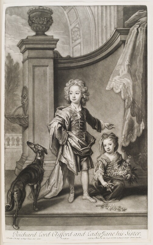 Richard Boyle, 3rd Earl of Burlington and 4th Earl of Cork; Lady Jane Boyle, by and published by John Smith, after  Sir Godfrey Kneller, Bt, 1701 (circa 1700) - NPG D11554 - © National Portrait Gallery, London