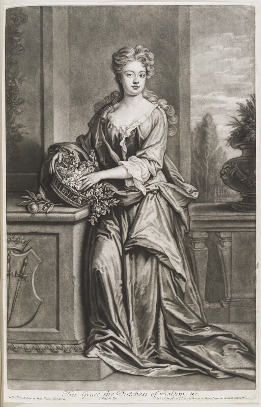 Henrietta Crofts (née Scott), Duchess of Bolton, by and published by John Smith, after  Sir Godfrey Kneller, Bt, 1703 (circa 1700) - NPG D11555 - © National Portrait Gallery, London