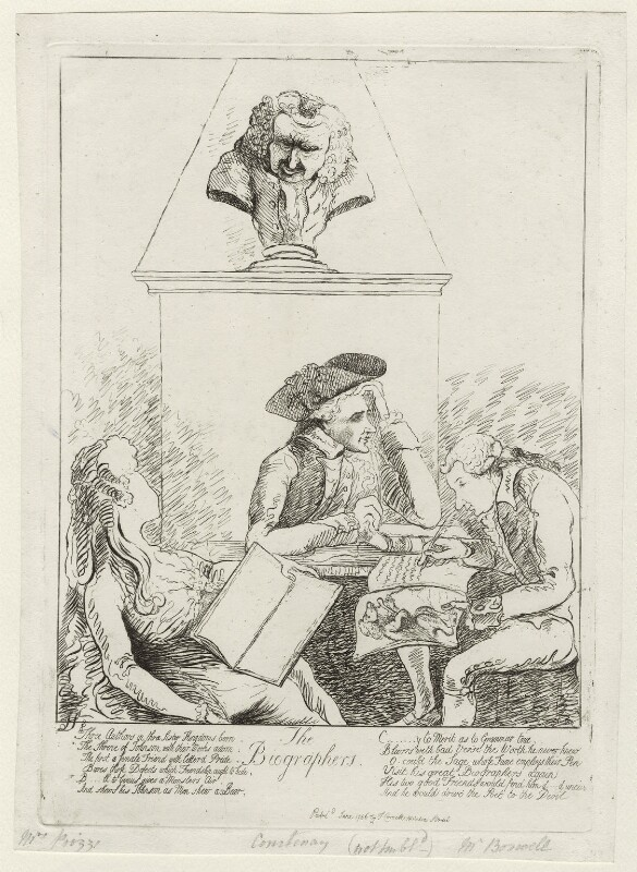 'The biographers', by James Sayers, published by  Thomas Cornell, published June 1786 - NPG D12243 - © National Portrait Gallery, London