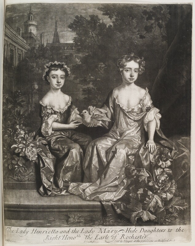 Henrietta Scott (née Hyde), Countess of Dalkeith; Mary Seymour-Conway (née Hyde), Lady Conway, by John Smith, published by  Edward Cooper, after  Willem Wissing, 1685 - NPG D11558 - © National Portrait Gallery, London