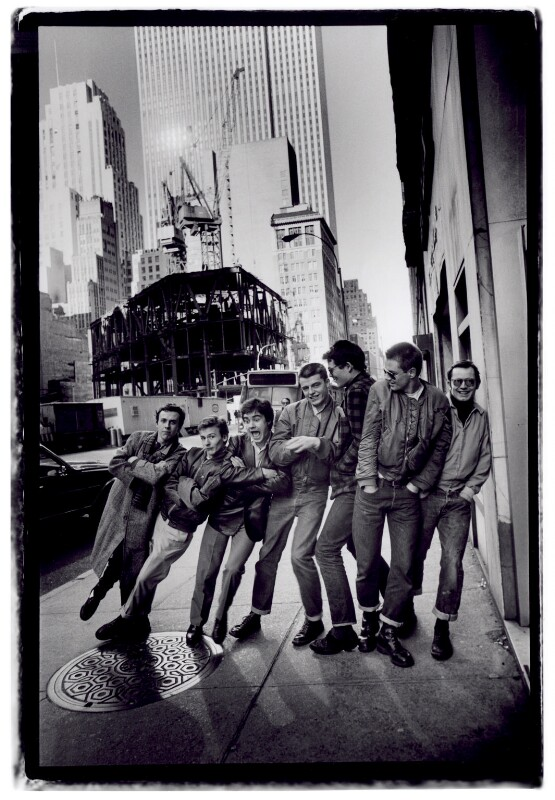 Madness (Mark Bedford; Daniel ('Woody') Woodgate; Christopher Foreman; Suggs; Chris Smith; Mike Barson; Lee Thompson), by Jill Furmanovsky, 1980 - NPG x125370 - © Jill Furmanovsky