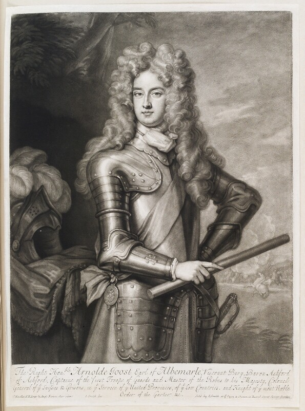 Arnold Joost van Keppel, 1st Earl of Albemarle, by and published by John Smith, after  Sir Godfrey Kneller, Bt, 1700 (1700) - NPG D11567 - © National Portrait Gallery, London