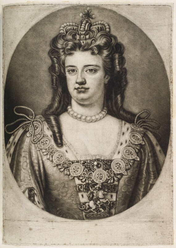 Queen Anne, published by John Smith, after  Sir Godfrey Kneller, Bt, 1706 (1703) - NPG D11920 - © National Portrait Gallery, London