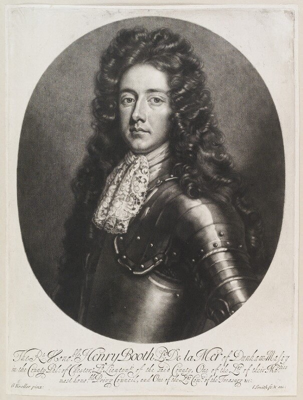 Henry Booth, 1st Earl of Warrington, by and published by John Smith, after  Sir Godfrey Kneller, Bt, 1689 (circa 1684) - NPG D11574 - © National Portrait Gallery, London