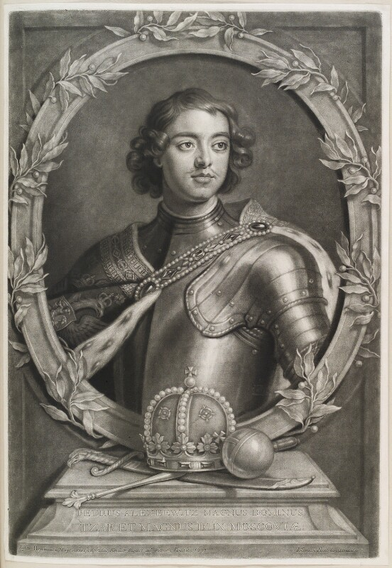Peter I (Peter the Great), by and published by John Smith, after  Sir Godfrey Kneller, Bt, 1698 - NPG D11575 - © National Portrait Gallery, London