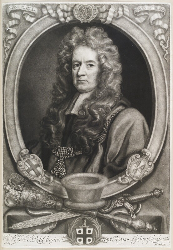 Sir Robert Clayton, by John Smith, after  John Riley, 1707 - NPG D11577 - © National Portrait Gallery, London