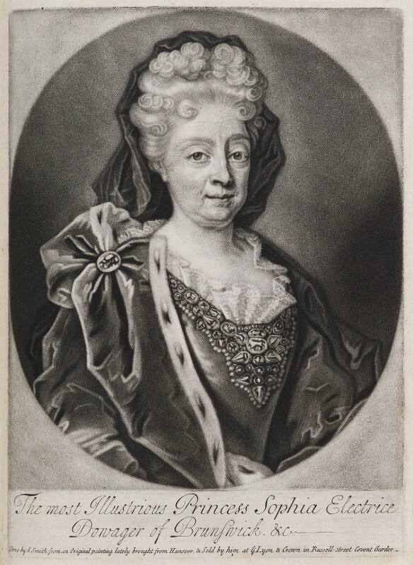 Princess Sophia, Electress of Hanover, by and published by John Smith, possibly after  Friedrich Wilhelm Weidemann, 1706 - NPG D11929 - © National Portrait Gallery, London