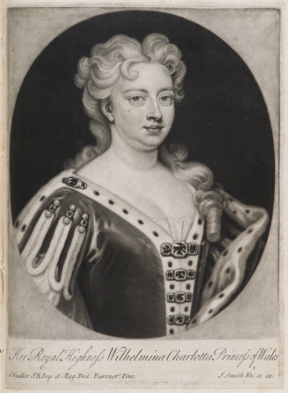 Caroline Wilhelmina of Brandenburg-Ansbach when Princess of Wales, by and published by John Smith, after  Sir Godfrey Kneller, Bt, 1717-1727 - NPG D11935 - © National Portrait Gallery, London