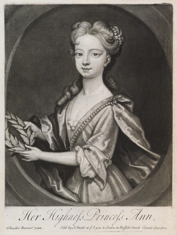 Anne, Princess Royal and Princess of Orange, published by John Smith, after  Sir Godfrey Kneller, Bt, 1720 - NPG D11938 - © National Portrait Gallery, London