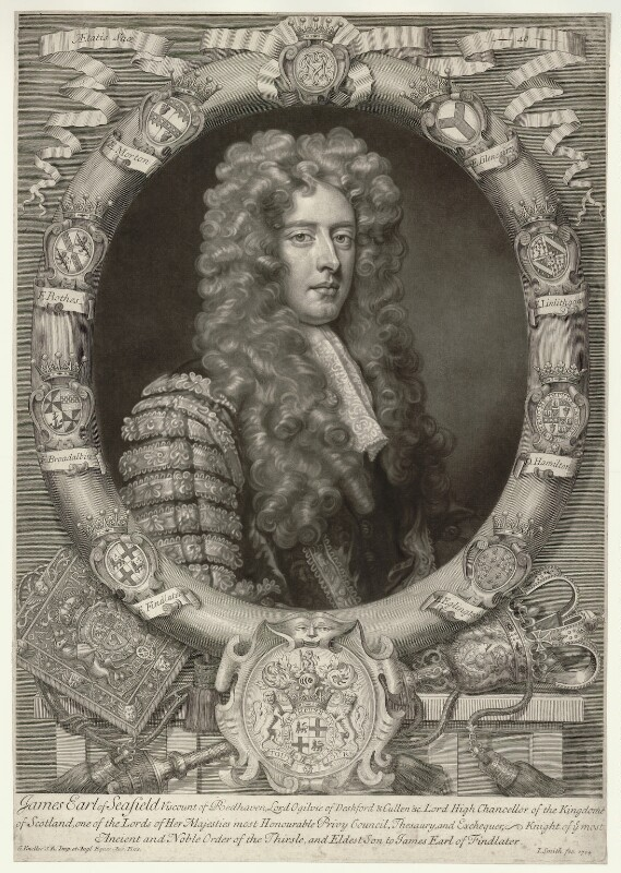 James Ogilvy, 1st Earl of Seafield, by John Smith, after  Sir Godfrey Kneller, Bt, 1704 (1704) - NPG D11590 - © National Portrait Gallery, London