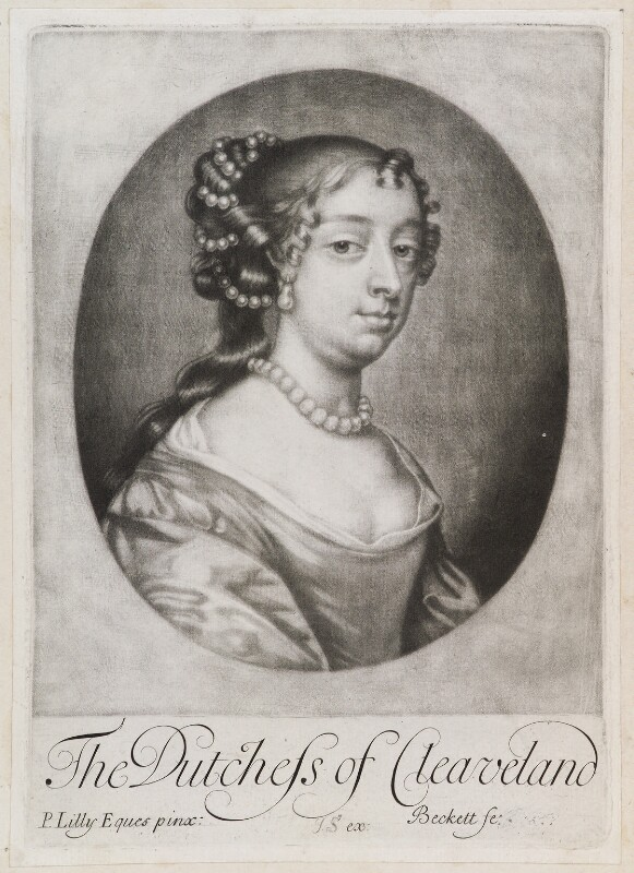 Barbara Palmer (née Villiers), Duchess of Cleveland, by Isaac Beckett, published by  John Smith, after  Sir Peter Lely, 1681-1688 - NPG D11940 - © National Portrait Gallery, London