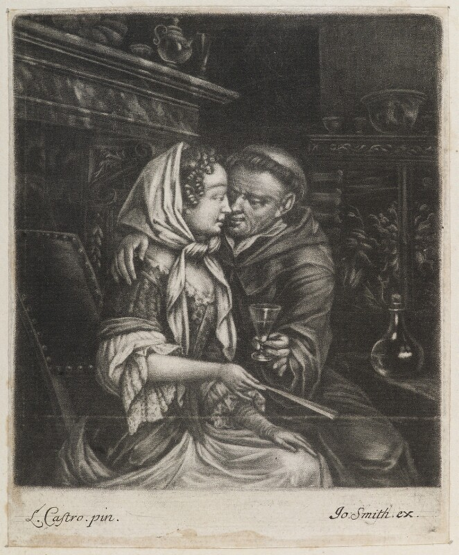 Friar and lady, published by John Smith, after  Laureys (Lorenzo) a Castro, circa 1683-1729 - NPG D11806 - © National Portrait Gallery, London