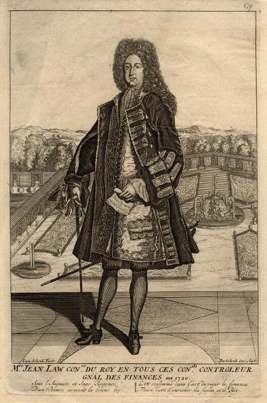 John Law, by Leonard Schenk, after  Unknown artist, 1720 or after - NPG D12272 - © National Portrait Gallery, London