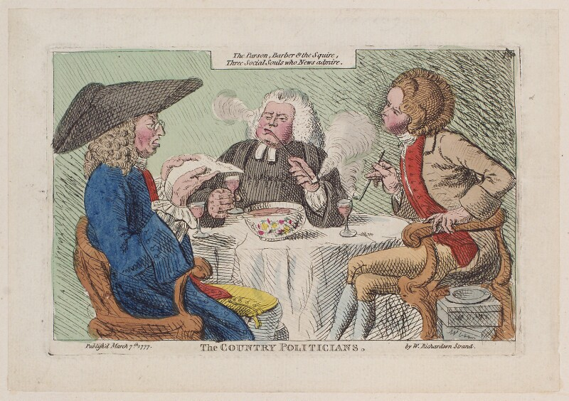 'The country politicians', by James Gillray, published by  William Richardson, published 7 March 1777 - NPG D12277 - © National Portrait Gallery, London