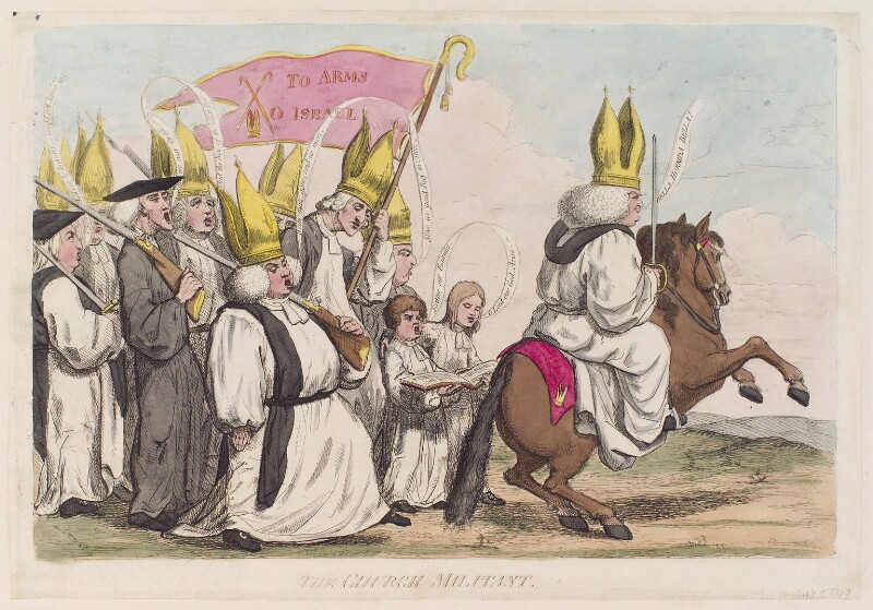 William Markham ('The church militant'), by James Gillray, published by  William Humphrey, published 5 September 1779 - NPG D12279 - © National Portrait Gallery, London