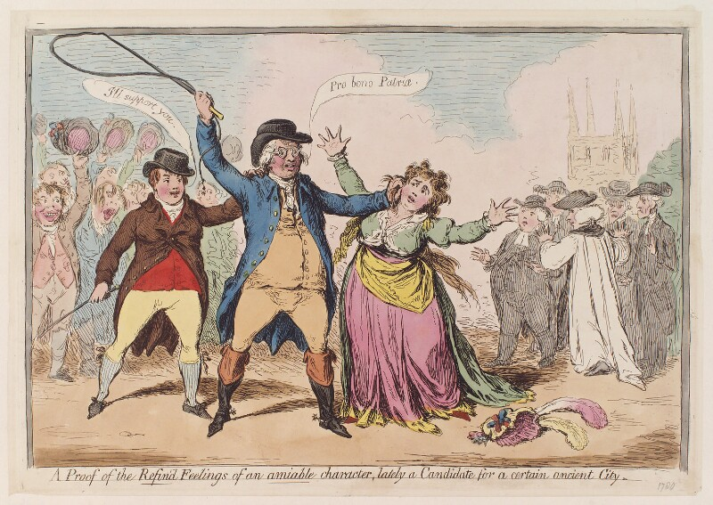 'A proof of the refin'd feelings of an amiable character, lately a candidate for a certain ancient city', by James Gillray, June 1796? - NPG D12282 - © National Portrait Gallery, London