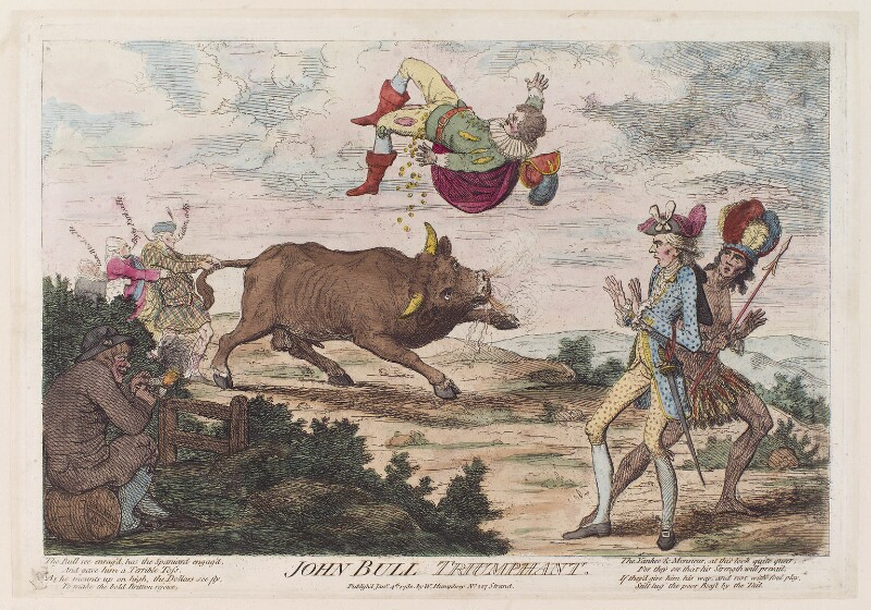 'John Bull triumphant', by James Gillray, published by  William Humphrey, published 4 January 1780 - NPG D12283 - © National Portrait Gallery, London