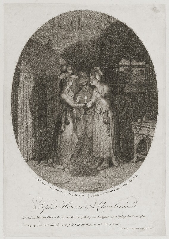 'Sophia, Honour and the Chambermaid', by James Gillray, published by  Thomas Macklin, published 1 August 1780 - NPG D12286 - © National Portrait Gallery, London