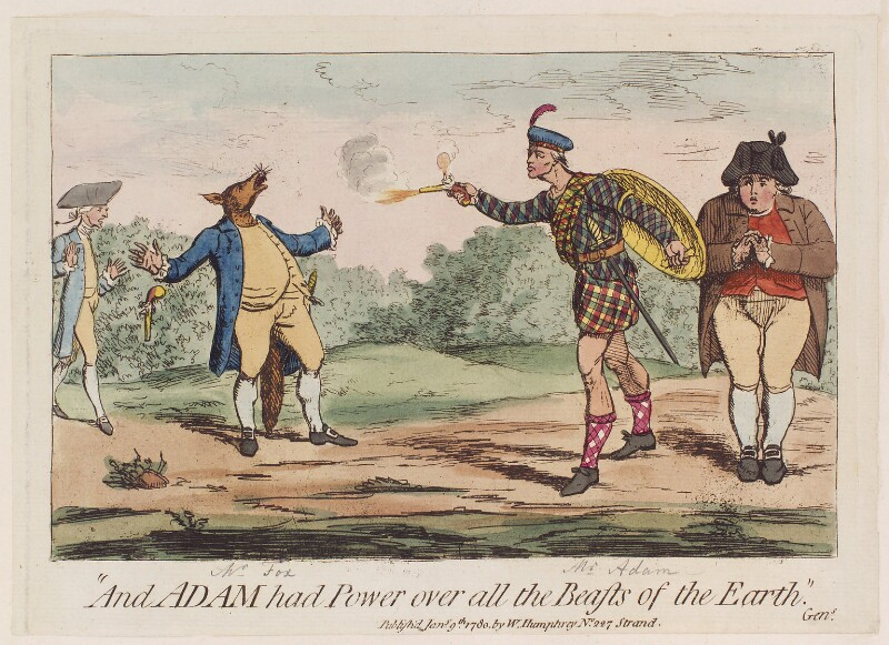 'And Adam had power over all the beasts of the earth', probably by James Gillray, published by  William Humphrey, published 9 January 1780 - NPG D12288 - © National Portrait Gallery, London